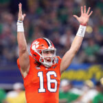 Trevor Lawrence signaling touchdown.